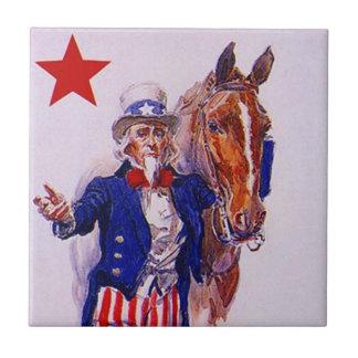Vintage Uncle Sam Army Cavalry Horse Patriot Tile