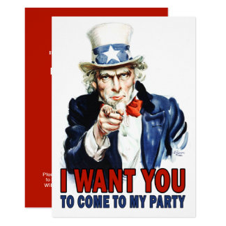 Vintage Uncle Sam - Come to my Party Card