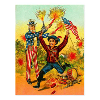 Vintage Uncle Sam Fireworks Postcard