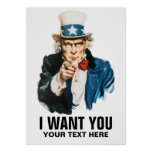 Vintage Uncle Sam I Want You Personalised Print