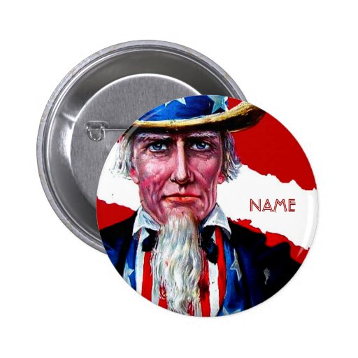 Vintage Uncle Sam July 4th Add Text Name Tag Badge Pinback Button