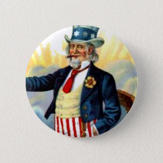 Vintage Uncle Sam July 4th Patriotic 6 Cm Round Badge