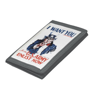 Vintage Uncle Sam Sign Tri-fold Wallets