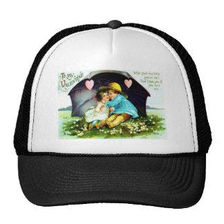 Vintage Under Umbrella Hearts Valentine Cap