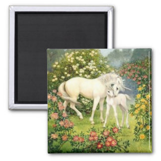 Vintage Unicorn And Foal Square Magnet