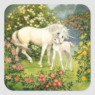 Vintage Unicorn And Foal Square Stickers
