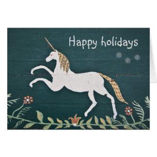 Vintage unicorn holidays card
