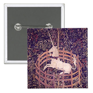Vintage Unicorn In Captivity Tapestry Button