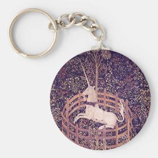Vintage Unicorn In Captivity Tapestry Basic Round Button Key Ring