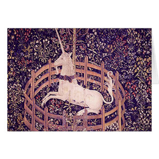 Vintage Unicorn In Captivity Tapestry Greeting Card