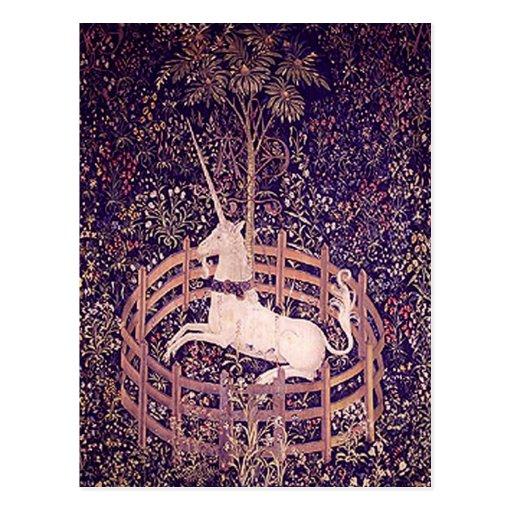 Vintage Unicorn In Captivity Tapestry Post Cards