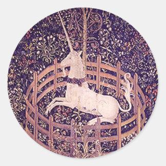 Vintage Unicorn In Captivity Tapestry Round Sticker