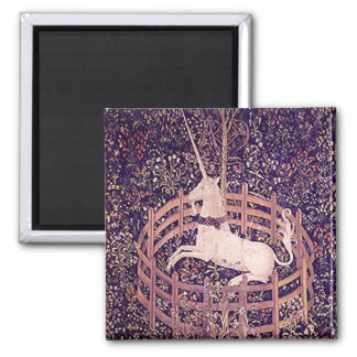 Vintage Unicorn In Captivity Tapestry Square Magnet