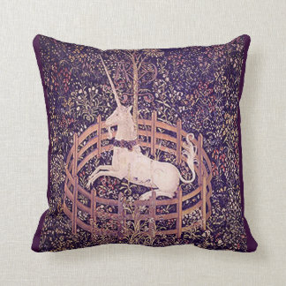 Vintage Unicorn In Captivity Tapestry Throw Pillow