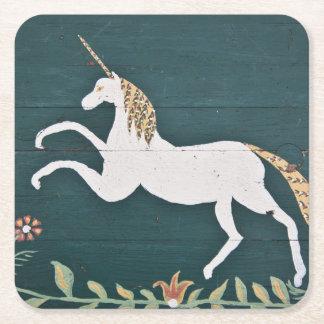 Vintage unicorn square paper coaster