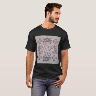 Vintage Unicorns Blotter Art on Mens Black T-Shirt