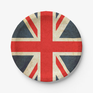 Vintage Union Jack British Flag Paper Plate 7 Inch Paper Plate