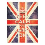Vintage Union Jack flag keep calm and carry on Postcard