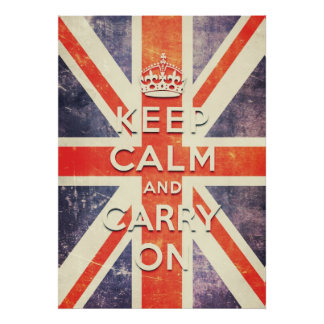 Vintage Union Jack flag keep calm and carry on Poster