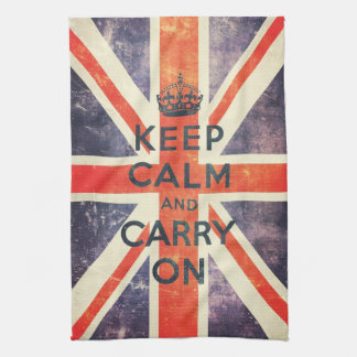 Vintage Union Jack flag keep calm and carry on Tea Towel