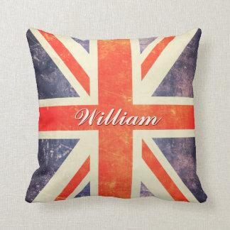 Vintage Union Jack flag personalized Throw Pillow