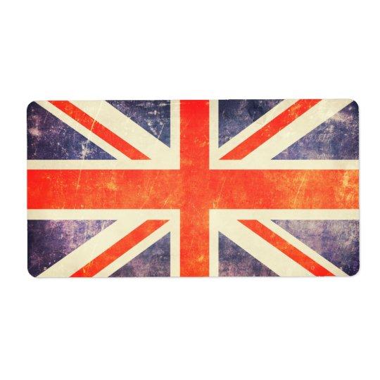Vintage Union Jack flag Shipping Label