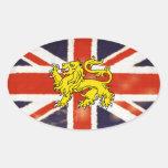 Vintage Union Jack Heraldry Lion Oval Sticker