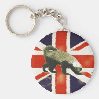 Vintage Union Jack Honey Badger Basic Keychain