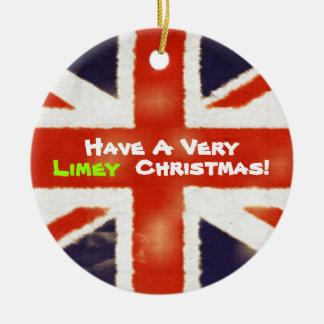 Vintage Union Jack Limey Christmas Ornament