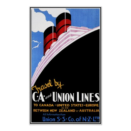 Vintage Union shipping lines New Zealand travel ad Poster