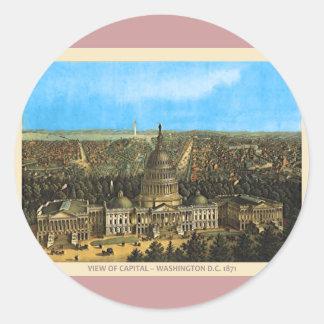 Vintage United States Capitol Round Sticker