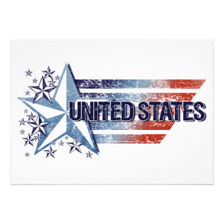 Vintage United States Flag with Star – 4th of July Invitation