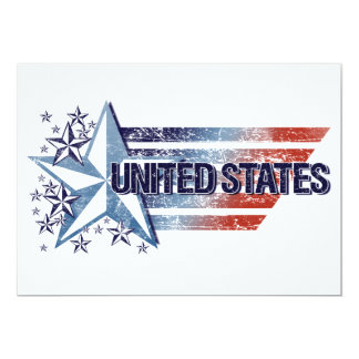 Vintage United States Flag with Star– Memorial Day 13 Cm X 18 Cm Invitation Card