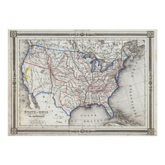 Vintage United States Gold Rush Regions Map (1852) Poster