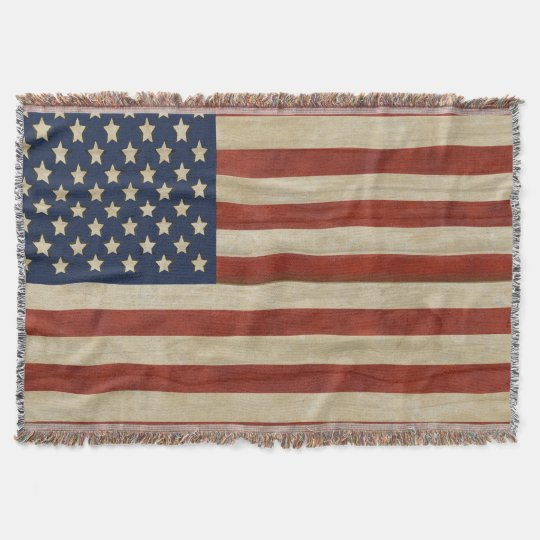 Vintage United States of America Flag Throw Blanket