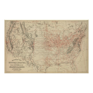 Vintage United States Railroad Map (1886) Poster