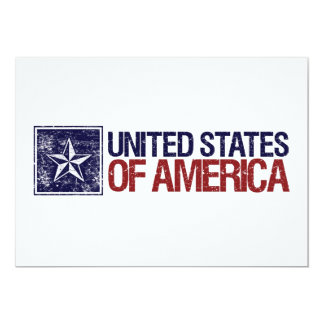 """Vintage United States with Star – 4th of July 5"""" X 7"""" Invitation Card"""