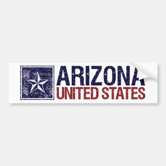 Vintage United States with Star – Arizona Bumper Sticker