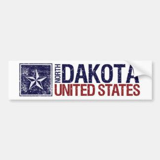 Vintage United States with Star – North Dakota Bumper Sticker