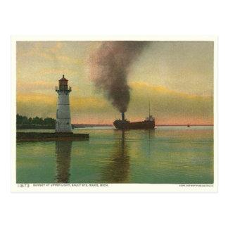 Vintage Upper Light (lighthouse) Postcard