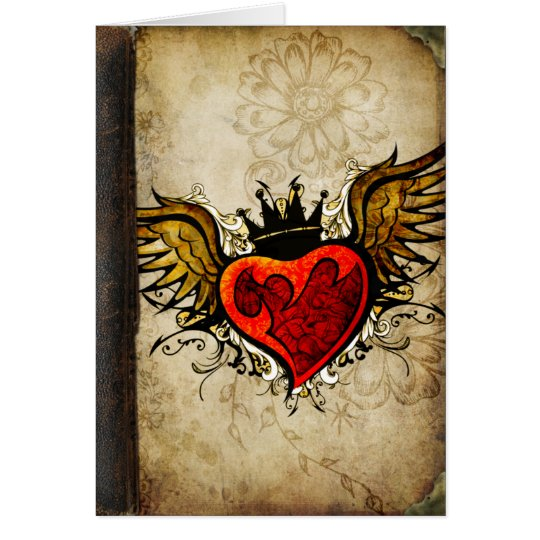 Vintage Urban Tattoo Winged Heart Greeting Cards