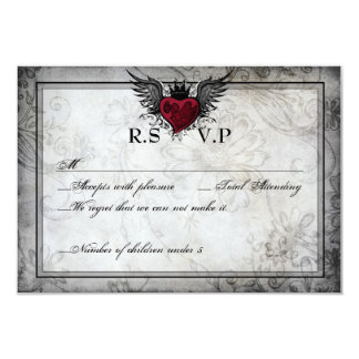 "Vintage Urban Tattoo Winged Heart RSVP Cards 3.5"" X 5"" Invitation Card"