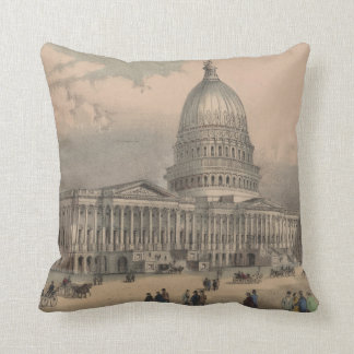 Vintage US Capitol Building Illustration (1872) Cushion