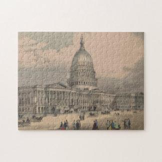 Vintage US Capitol Building Illustration (1872) Jigsaw Puzzle