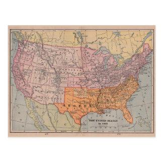 Vintage US Civil War Era Map 1861 Postcard