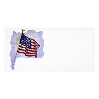 Vintage US Flag in Patriotic Colors Custom Photo Card