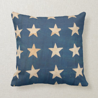 Vintage US Flag Stars Throw Pillow