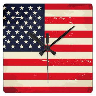 Vintage US Flag Wall Clock
