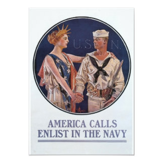 Vintage US Navy America Calls Recruiting poster 13 Cm X 18 Cm Invitation Card
