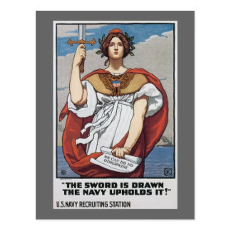 Vintage US Navy The sword is Drawn Postcard